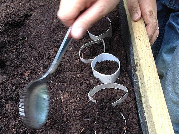 Nach einbringen des Saatguts, wird es nochmas gewissenhaft mit Erde bedeckt.
